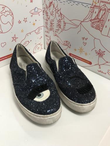 Scarpa 41 CHIARA FERRAGNI Donna Sneakers & Tennis shoes basse Blu Fibre tessile